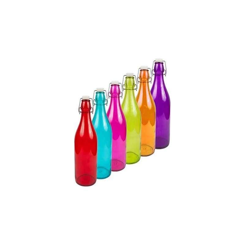Butelka 1L z hermetycznym zamk. - okrągła kolor