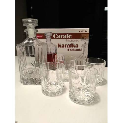 Karafka ozdobna 0,7L +4 szklanki 0,2L whisky