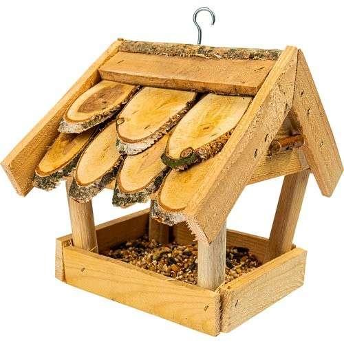 Karmnik dla ptaków - z drewna kryty gontem