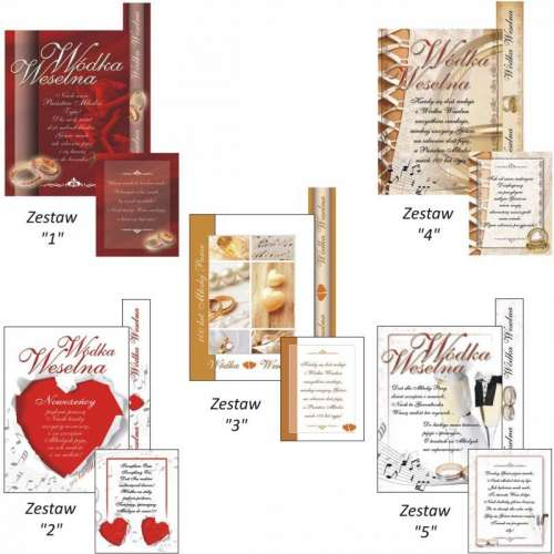 Etykiety na wódkę weselną + banderola - 50kpl.
