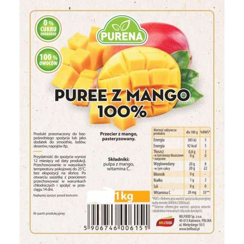 Przecier Puree Mango  100% 1kg