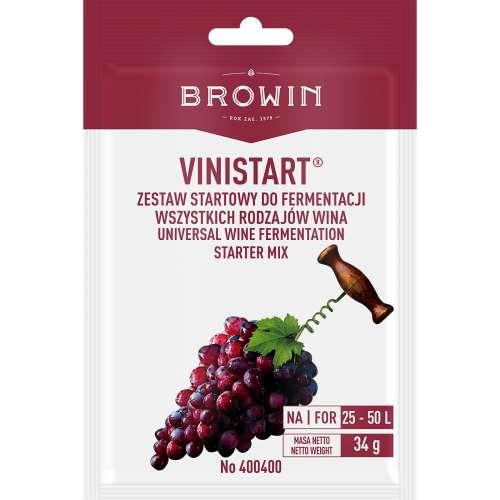 Vinistart, 34 g Zestaw startowy do 50L wina - Drożdże + Pożywka